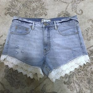 Free People High Rise Crochet Lace Jean Shorts